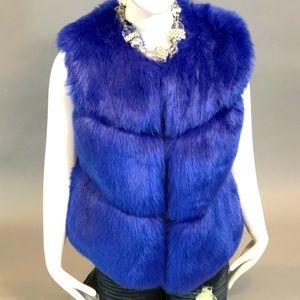 Royal Blue Faux Fur Vest